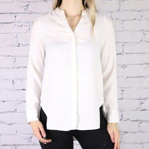 NWT Halston long sleeve high low white blouse r3